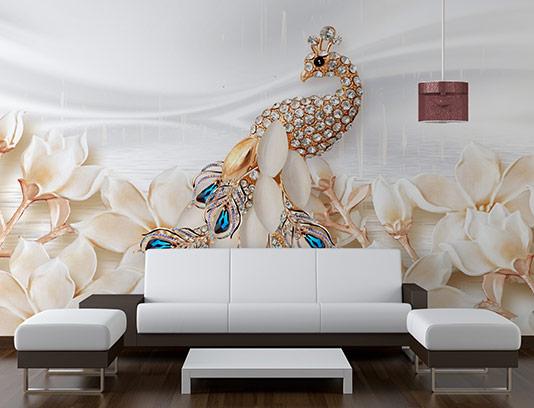 کاغذ دیواری طاووس نگین دار