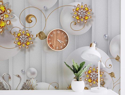 کاغذ دیواری گل نگین دار طلایی