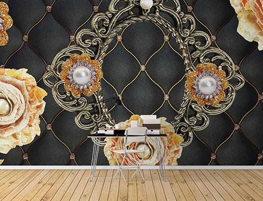 کاغذ دیواری لوکس مشکی طلایی