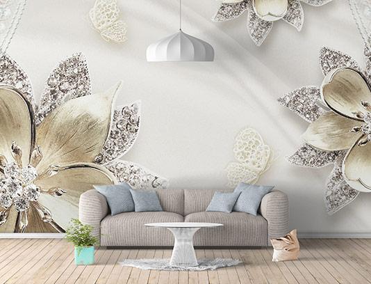 کاغذ دیواری گل و پرده سفید