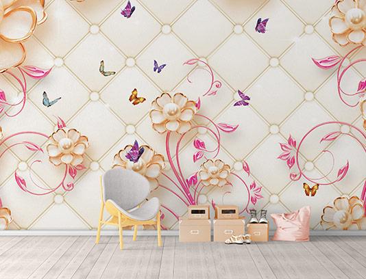 کاغذ دیواری گل و پروانه رنگی