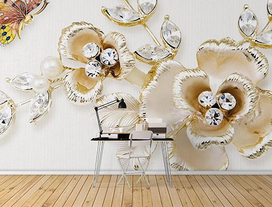 کاغذ دیواری گل خلاقانه