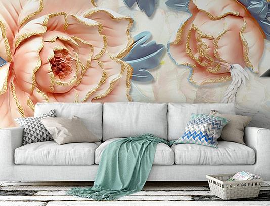 کاغذ دیواری سه بعدی گل خلاقانه