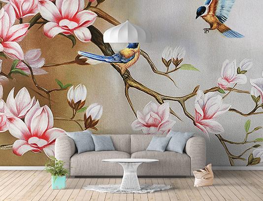 کاغذ دیواری شکوفه های صورتی