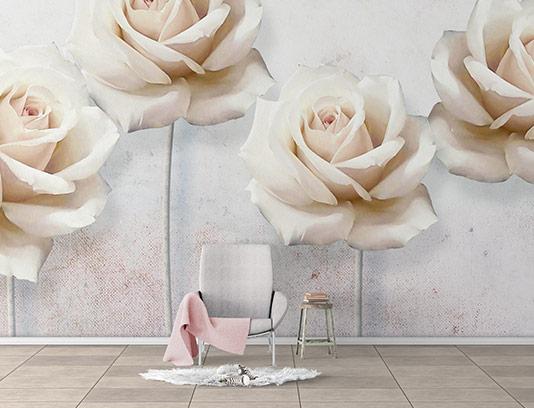 کاغذ دیواری گل رز صورتی