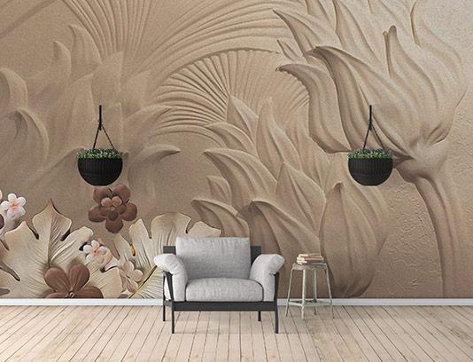کاغذ دیواری سه بعدی قهوه ای