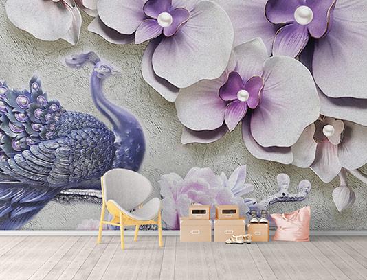 کاغذ دیواری طاووس بنفش