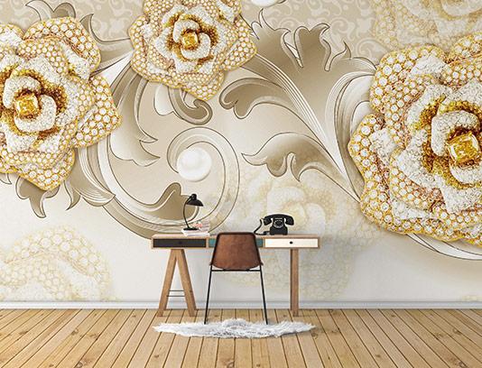 کاغذ دیواری گل رز نگین دار