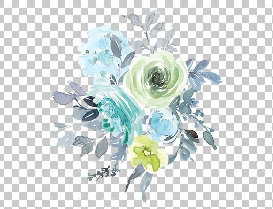 عکس دوربری شده گل سبز آبی
