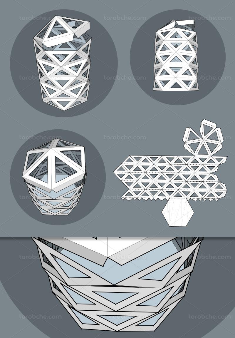 وکتور طرح گسترده جعبه شش ضلعی