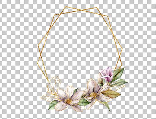 عکس دوربری شده کادر گل و برگ