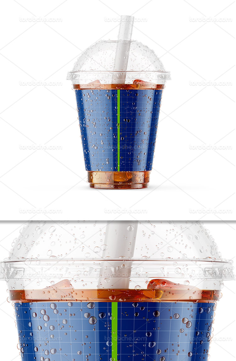 موکاپ لیوان نوشابه و یخ