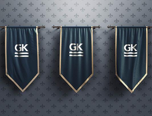 موکاپ پرچم های کتیبه ای سه تایی
