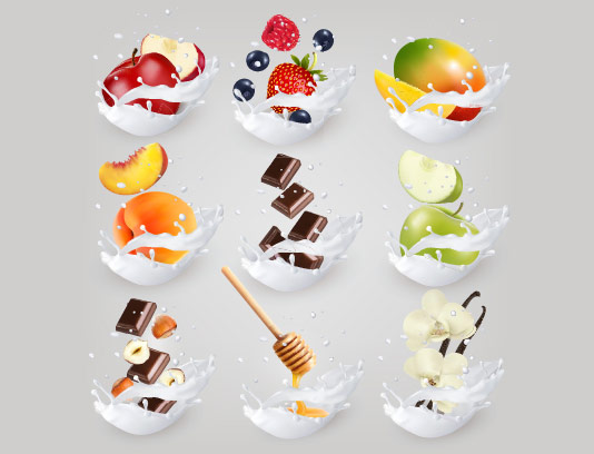 وکتور اسپلش شیر و انواع میوه