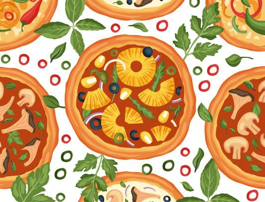 وکتور پترن پیتزا سبزیجات