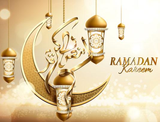 وکتور پس زمینه ماه رمضان طلایی