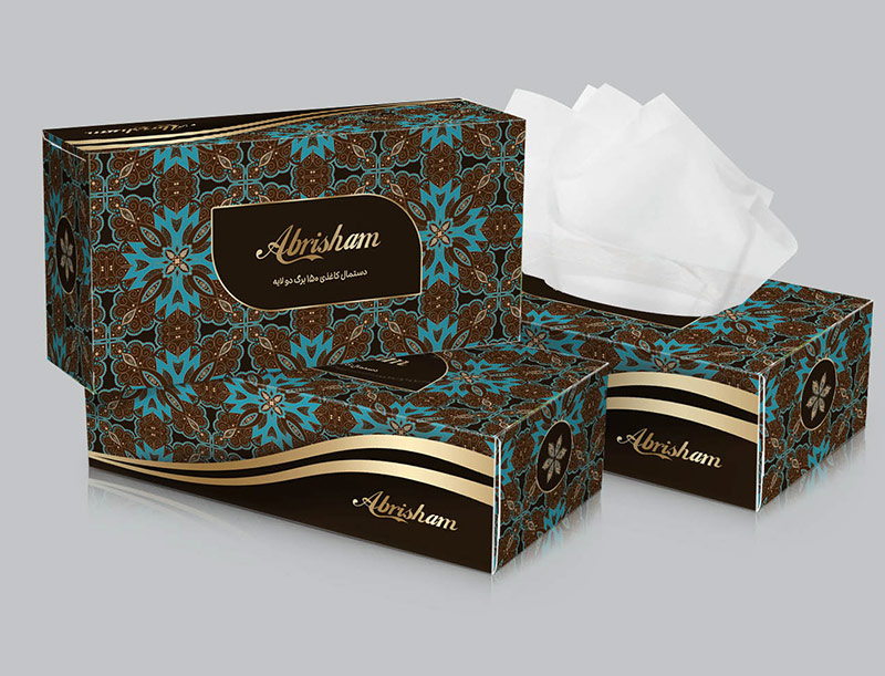 طرح جعبه دستمال کاغذی آبی
