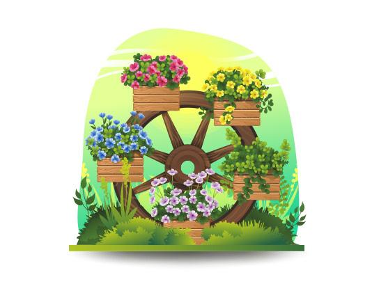وکتور گلدان های چوبی