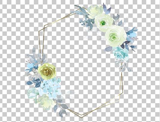 عکس دوربری شده کادر گل و برگ آبی
