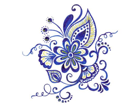 وکتور گل و برگ آبی