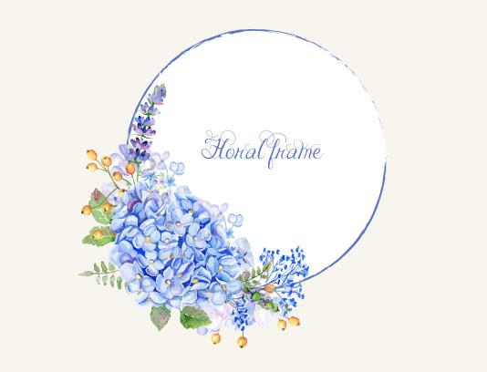 وکتور کادر گل و برگ آبی