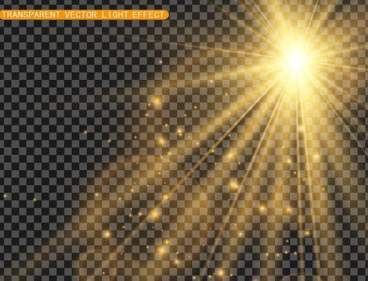 وکتور افکت نور طلایی درخشان