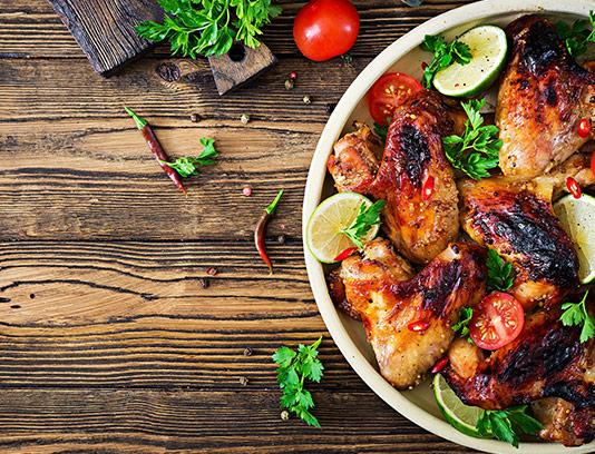 عکس بال مرغ کبابی با سبزیجات