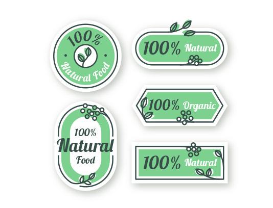 وکتور برچسب محصولات طبیعی سبز