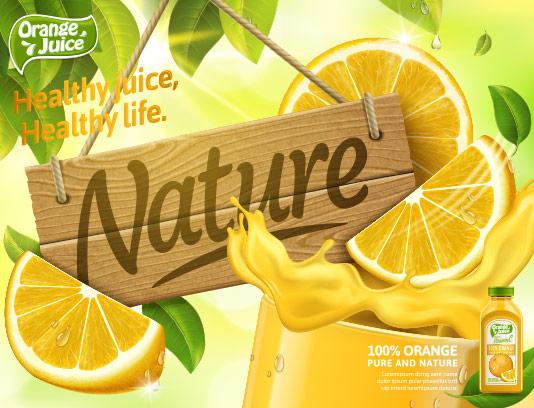 وکتور آب پرتقال طبیعی