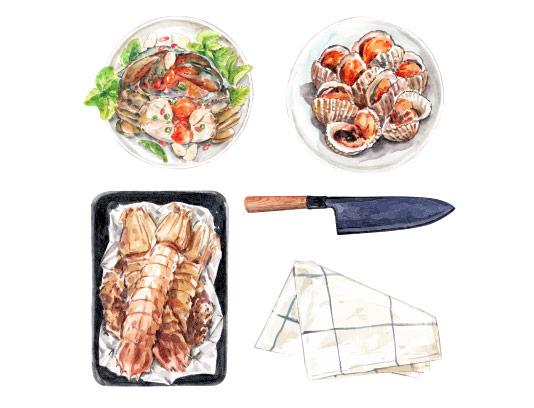 وکتور انواع غذای دریایی آبرنگی
