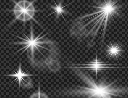 وکتور افکت نور های ستاره ای نقره ای