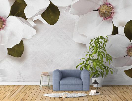 کاغذ دیواری گل های سفید
