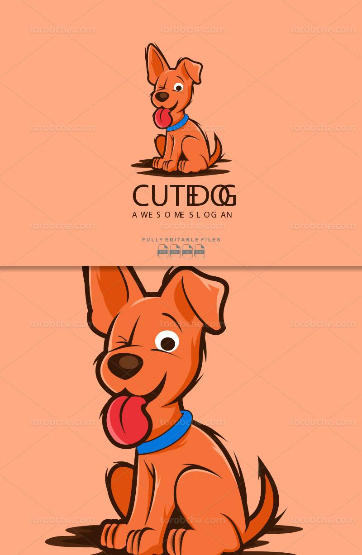 وکتور لوگو سگ بامزه انتزاعی