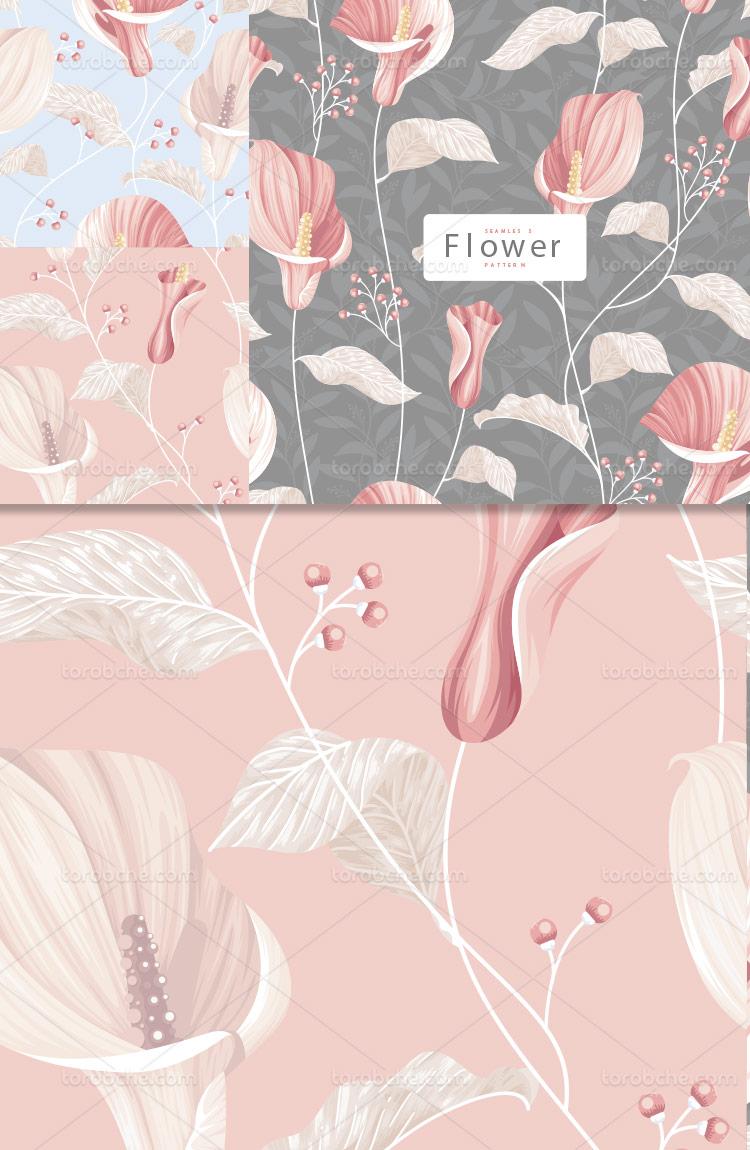 وکتور پترن گل و برگ صورتی