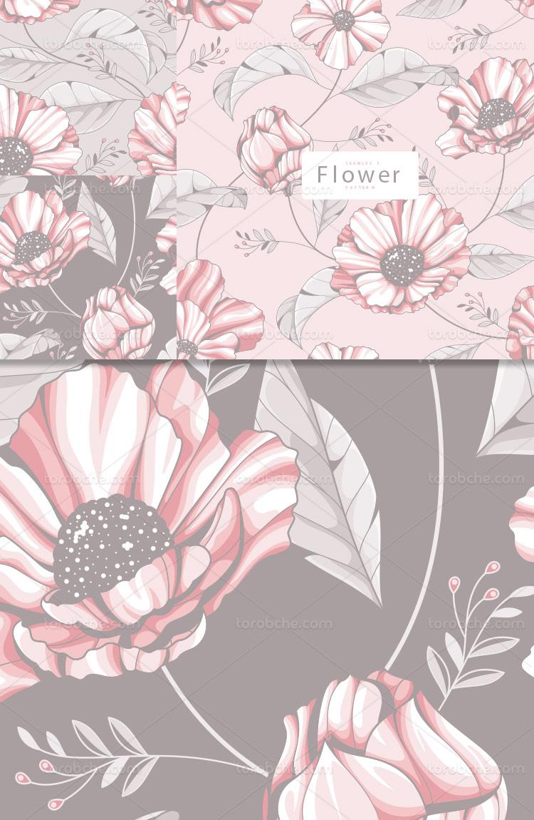 وکتور پترن گل و برگ رنگی