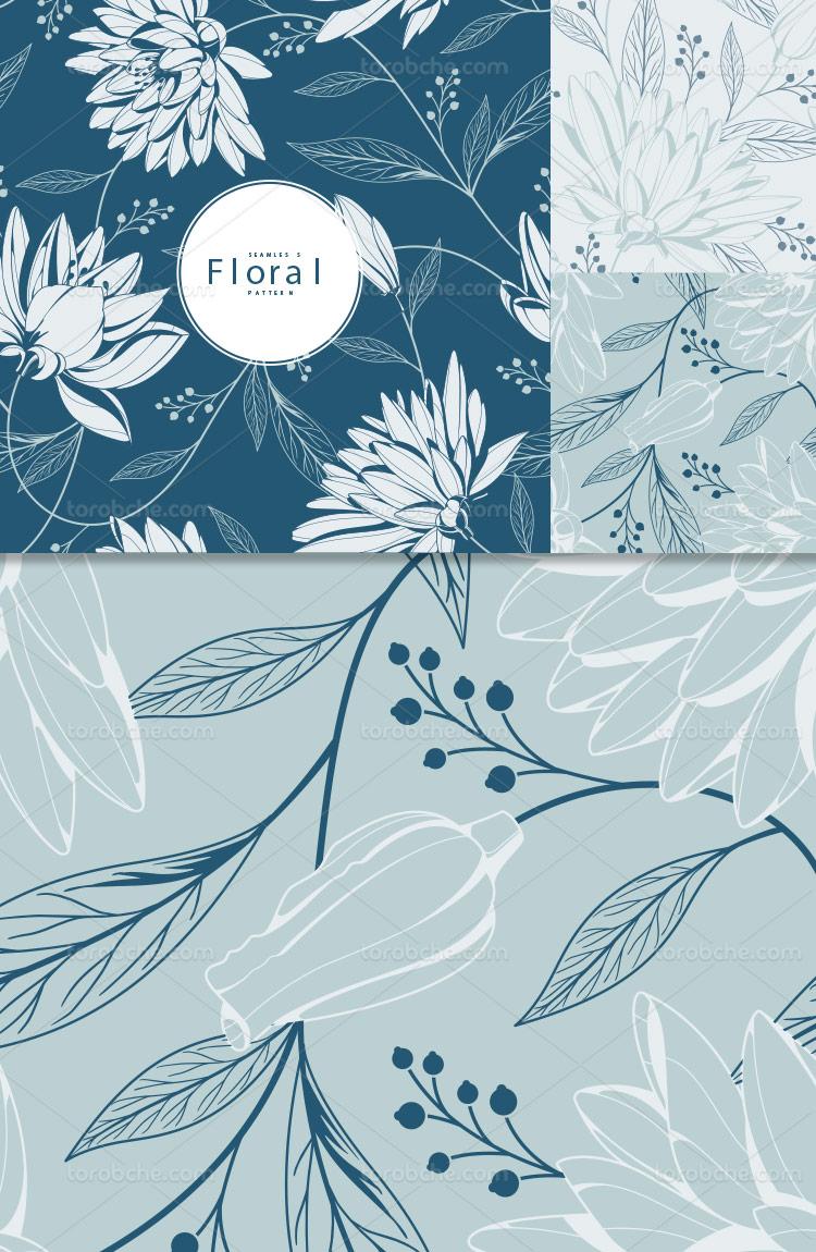 وکتور پترن گل و برگ آبی