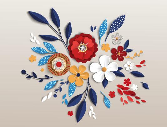 وکتور گل و برگ رنگارنگ