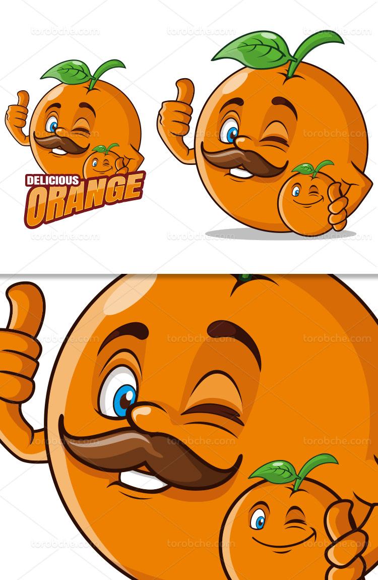 وکتور کاراکتر پرتقال بامزه