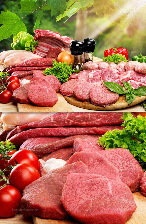 عکس گوشت قرمز تازه با سبزیجات