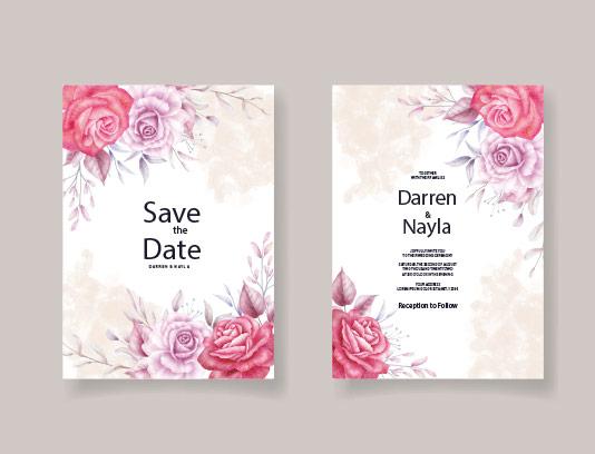 وکتور کارت عروسی با گلهای صورتی
