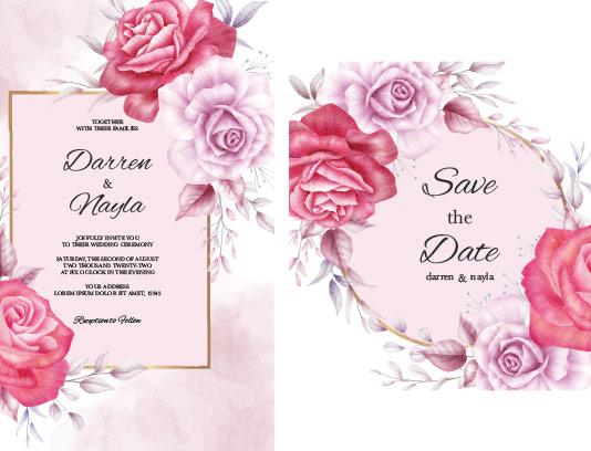 وکتور طرح کارت دعوت عروسی صورتی