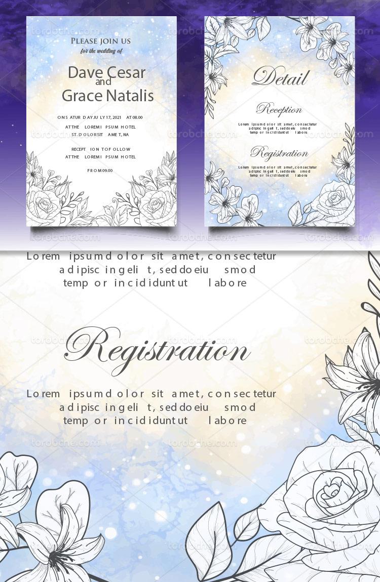 وکتور کارت عروسی رنگی با کیفیت