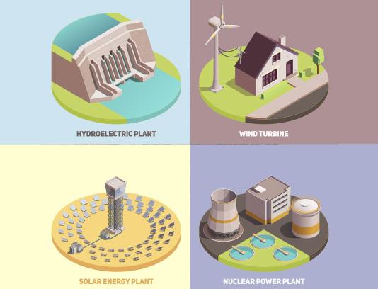 وکتور ایزومتریک انرژی پاک انتزاعی