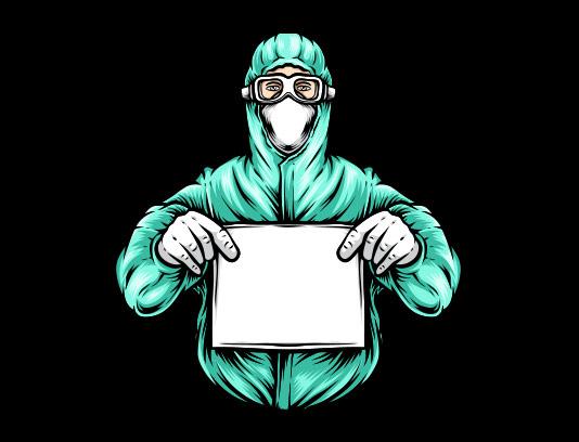 وکتور پزشک با روپوش آبی