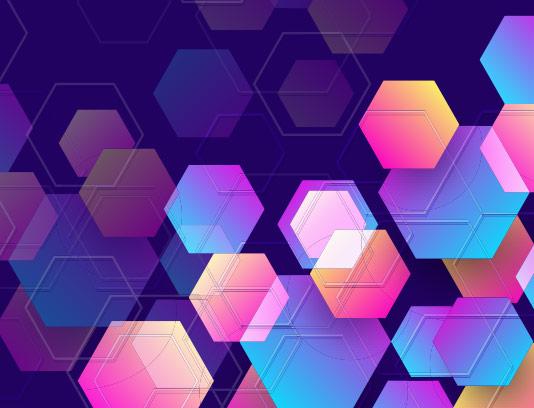 وکتور بکگراند شش ضلعی رنگی