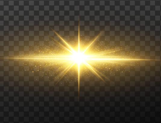 وکتور افکت نور ستاره ای درخشان طلایی