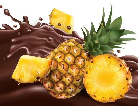 وکتور اسپلش کاکائو و آناناس