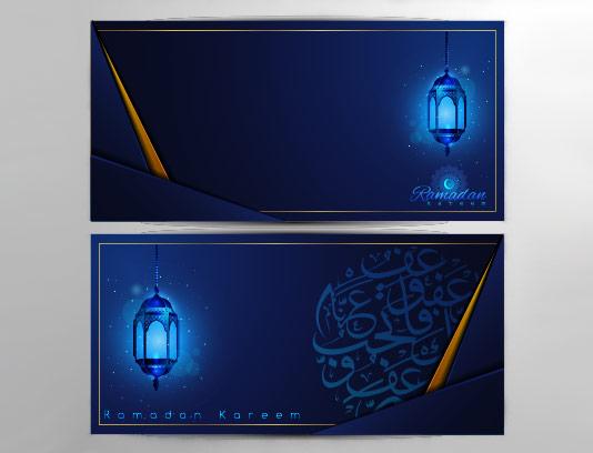 وکتور بنر ماه مبارک رمضان آبی