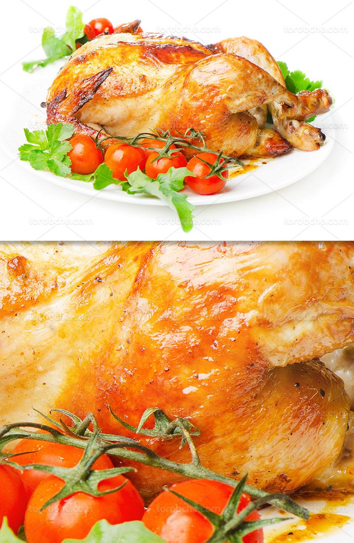 عکس مرغ بریان با سبزیجات