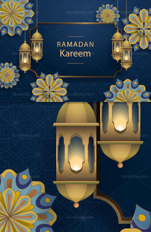 وکتور پس زمینه سنتی ماه رمضان